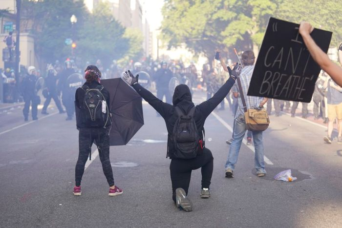 INSIDE THE PUSH TO TEAR-GASPROTESTERS